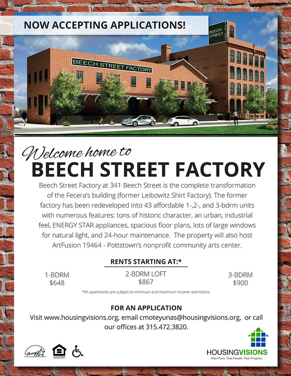 . Rents for the smallest units in Beech Street Factory start at $648 and go as high as $900 per month. Applications are now being accepted and contact information is shown above.
