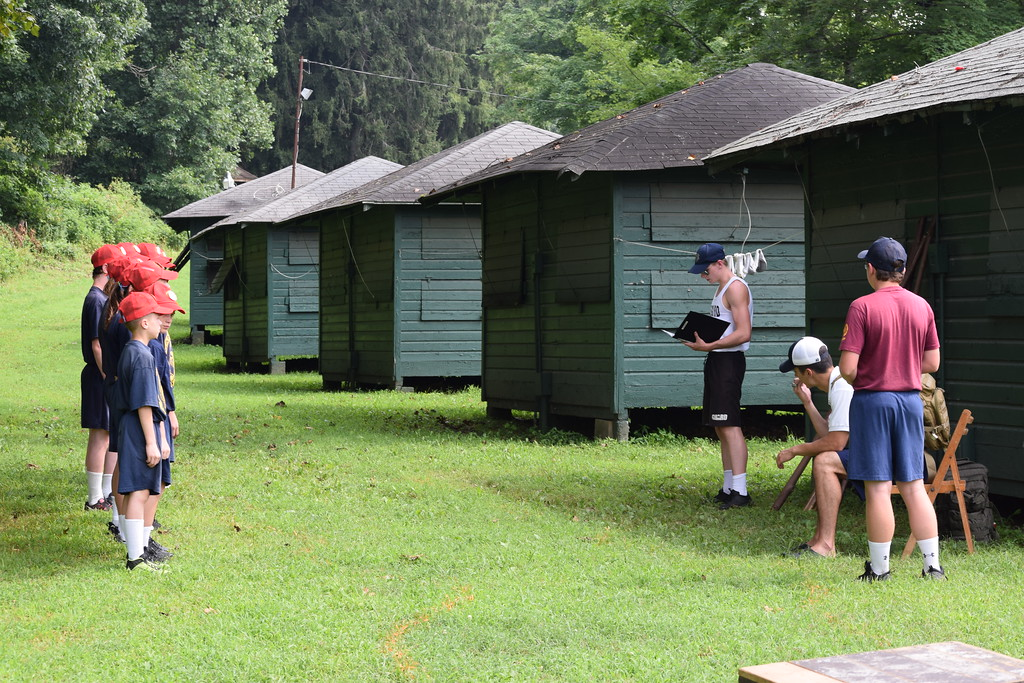 . Marian Dennis � Digital First Media Cadets lined up as they listened to their instructor on Thursday at Camp Cadet. The week-long camp held by State Police Troop L exposes kids to a variety of activities related to police work.