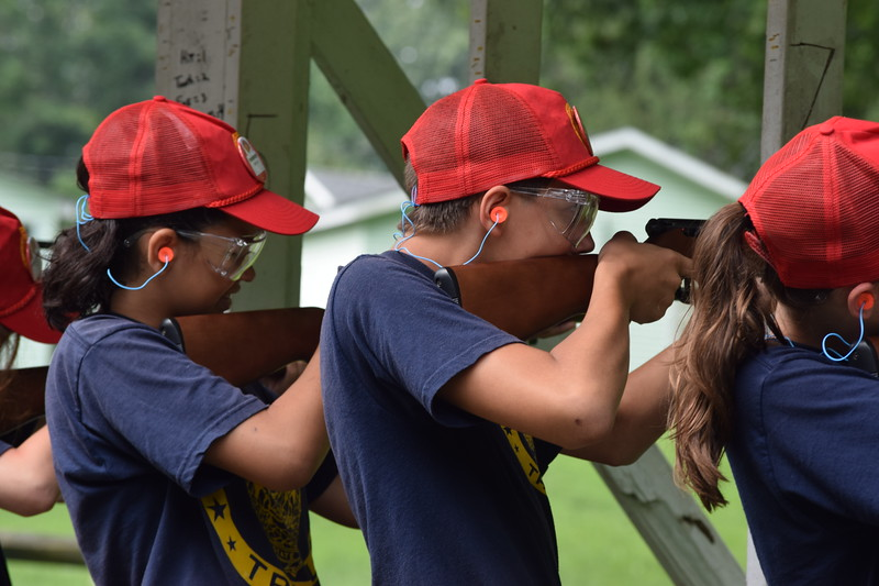 Marian Dennis – Digital First Media<br /> Campers at Camp Cadet, held by State Police Troop L, took aim at targets set up for practice. Marksmanship was one of many activities campers got to experience during the week-long camp.