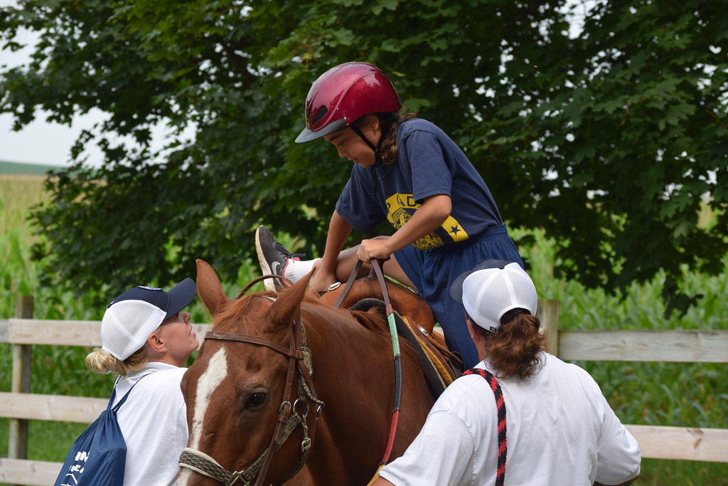 . Marian Dennis � Digital First Media Kids had a chance to try horseback riding during Camp Cadet this week. The week-long camp, hosted by State Police Troop L, gave kids the opportunity to experience activities related to police work.