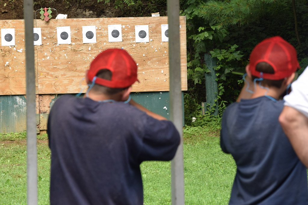 . Marian Dennis � Digital First Media Cadets aimed at their targets during a marksmanship exercise Thursday at Camp Cadet.