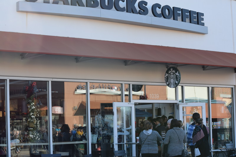 Starbucks at the Philadelphia Premium Outlets was among several retailers on Black Friday that saw long lines and lots of shoppers.<br /> Marian Dennis -- Digital First Media