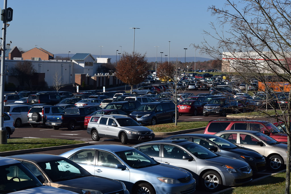. Parking spaces at the Philadelphia Premium Outlets were starting to fill up Friday morning as shoppers rushed to kick-start their holiday shopping. Marian Dennis -- Digital First Media