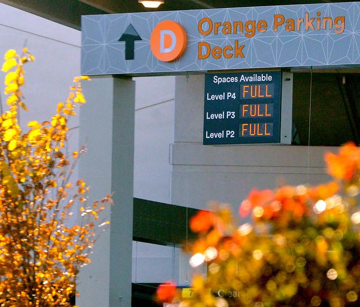 A message board tells shoppers the Orange parking lot is full King of Prussia Mall Nov. 24, 2017. (Bob Raines--Digital First Media)