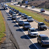 Traffic backs up around the bend on westbound 422 Expressway as drivers try to get off at the Sanatoga exit as they head for Philadelphia Premium Outlets  Nov. 24, 2017. (Bob Raines--Digital First Media)