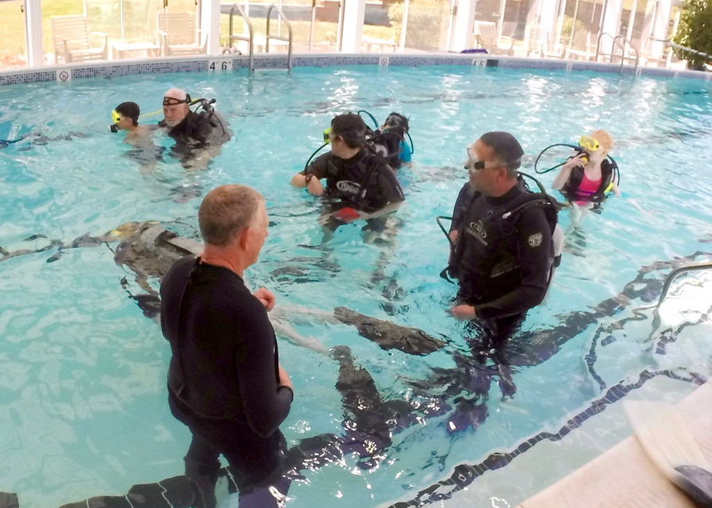 . Jesi Yost - Digital First Media  Adaptive Diving Association volunteers in the water with youth from VisionCorps, a Lancaster-based non-profit organization that empowers people who are blind or vision impaired to attain independence.