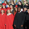 John Strickler - Digital First Media<br /> Dressed in caps any gowns, the senior members of Boyertown High School show choir sing with their underclass friends at the beginning of their commencement Tuesday evening. It would be their last performance as high school seniors.
