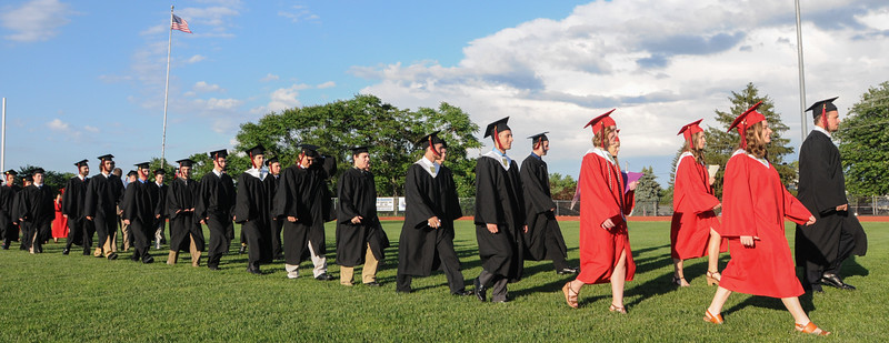 John Strickler - Digital First Media<br /> The Boyertown High School class of 2016 marches onto the stadium field for commencement ceremony Tuesday evening. 506 seniors graduated. The valedictorian is Olivia J. Crocker and the salutatorian is Jordan T. Shustack.