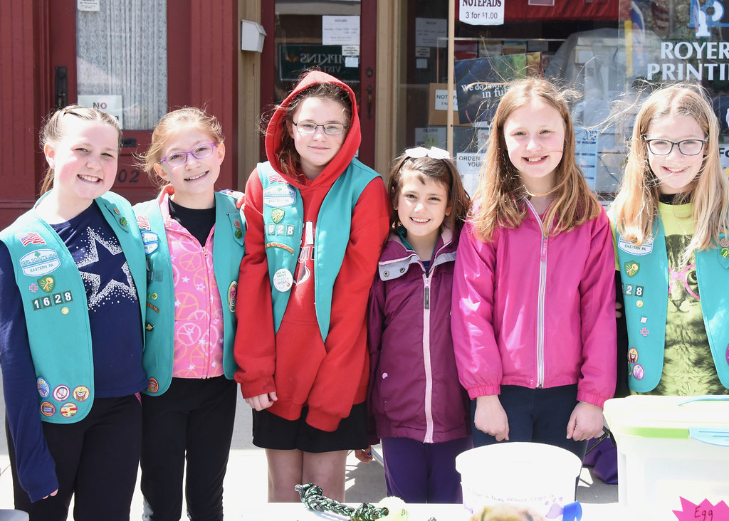 . Jesi Yost � For Digital First Media Girl Scout Troop 1628 of Boyertown raises money for two projects: No sew blanket supplies and the Animal Rescue League of Berks County. Pictured: 11-year-old Bella Cressman, 11-year-old Alexa Josuweit, 10-year-old Caroline Pengelly, 10-year-old Thea Freimann, 10-year-old Katie Smith, and 10-year-old Emma Webster.