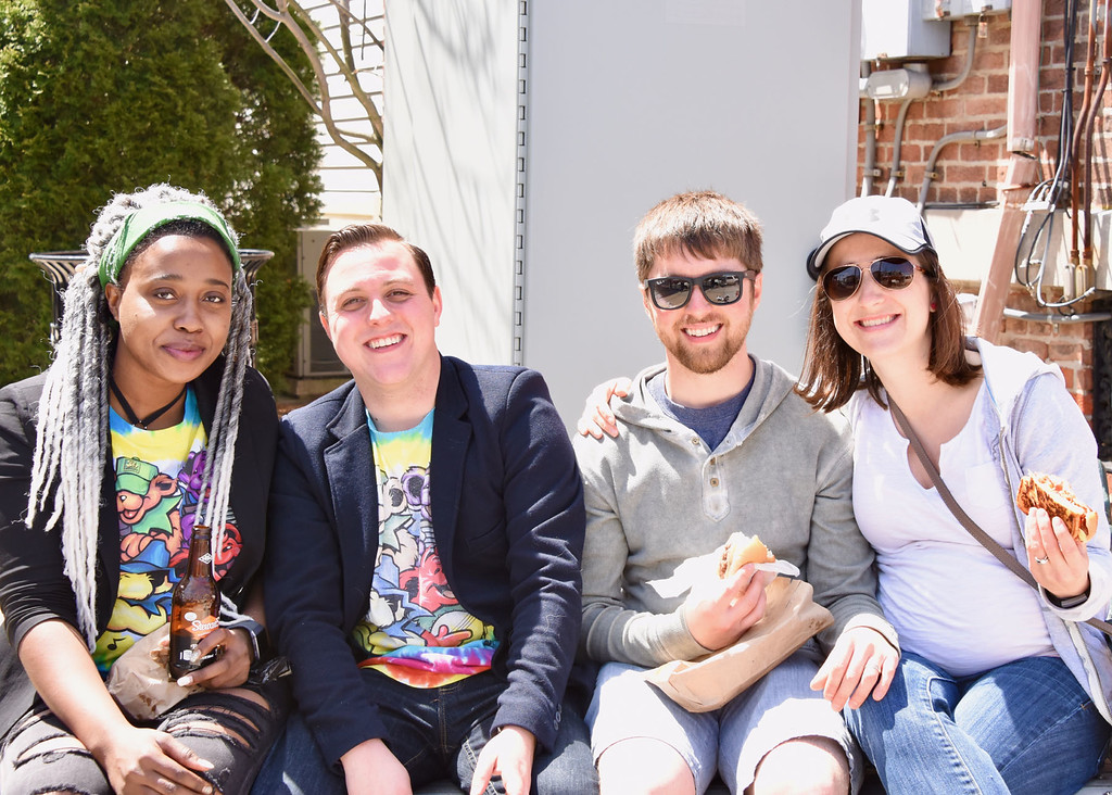 . Jesi Yost � For Digital First Media From left, Tasha Watson, Marcus Shellenberger, Robert Drewicz, and Sarah Drewicz enjoy the warm weather at Boyertown�s Coming Out of Hibernation event.