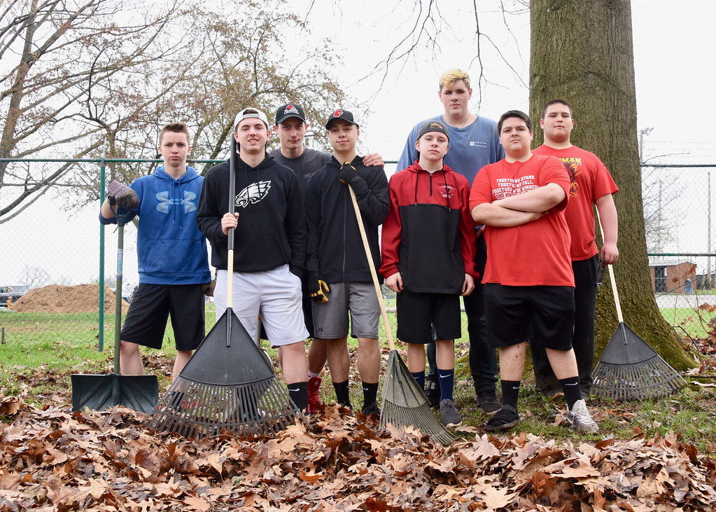 . Jesi Yost � For Digital First Media Eight Boyertown Area High School football team members volunteer to rake leaves at EarthFest in Boyertown Community Park. Sponsored by the Boyertown Park and Recreation Board, the annual event celebrates Earth Day each spring.