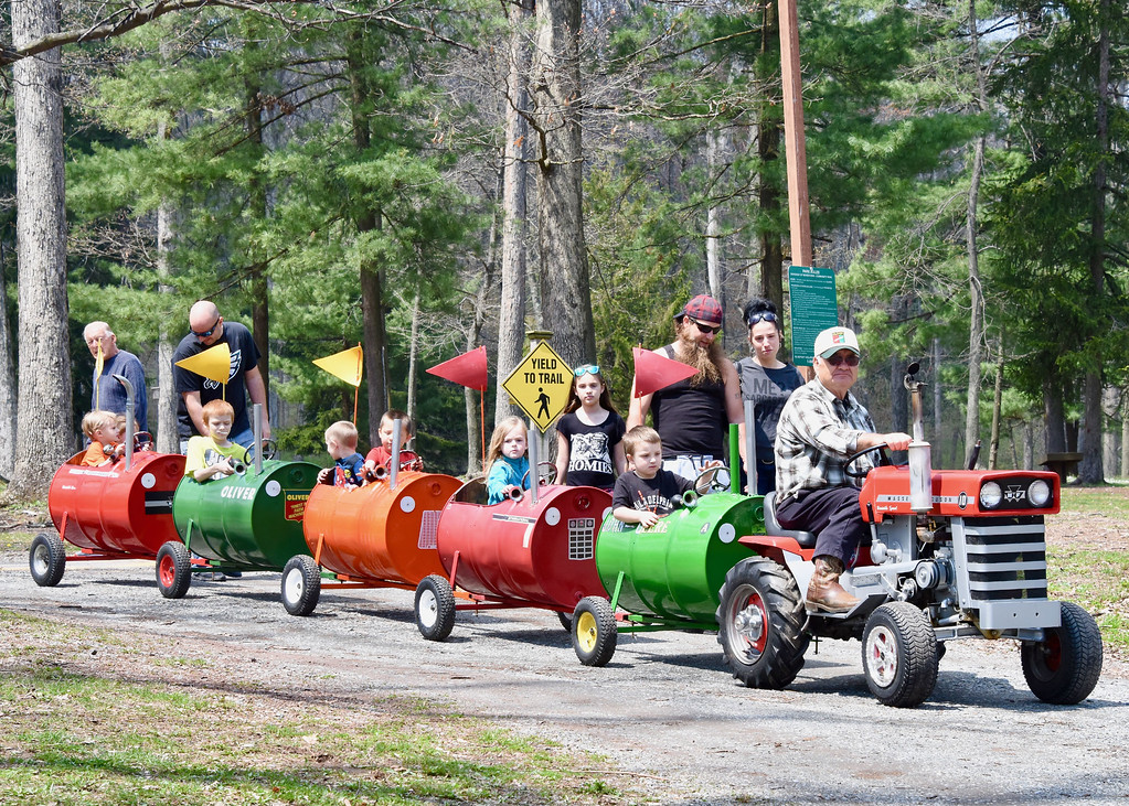 . Jesi Yost � For Digital First Media Luke Marin of Fleetwood drives children though Boyertown Community Park during EarthFest. Martin and his son built his Barrel Train for his six grandsons 10 years ago. Now that his grandchildren are grown, Martin uses his train to entertain area kids at local events.
