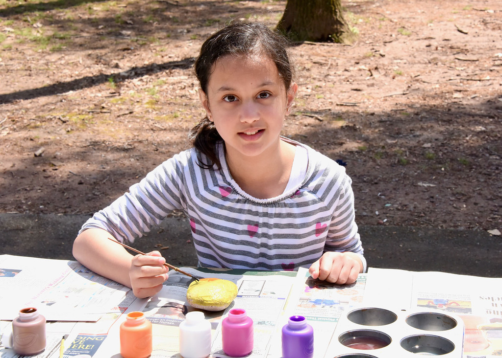 . Jesi Yost � For Digital First Media 8-year-old Alyx Isaacson of Gilbertsville paints a rock at Boyertown�s Earthfest. Isaacson plans to hide her painted stone as part of Berks County Rocks!