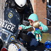 Kadence Fox takes a seat on a police motorcycle parked outside the Fox home in Gilbertsvillle. Police officers stopped by to deliver a special Meals on Wheels box and visit with the family.<br /> Marian Dennis -- Digital First Media