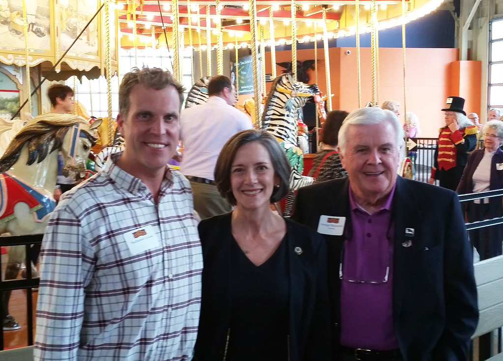 . Nathaniel Guest, left, president of the Colebrookdale Railroad Preservation Trust, Montgomery County Commissioners Chairwoman Val Arkoosh and former Carousel at Pottstown President George Wausnock during the appreciation night event May 4.