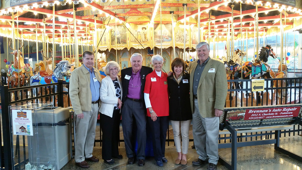 . George Wausnock, former president of the Carousel at Pottstown and his wife Joan, center, with, from left Mike and Janice Linn and Carter and Sarah Reese