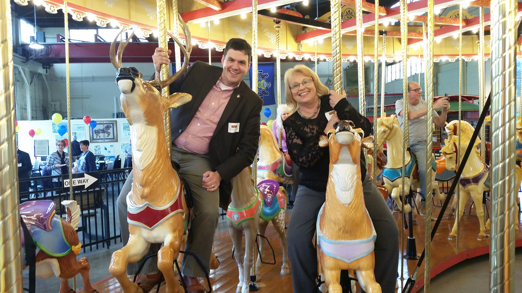. Pottstown Parks and Recreation Director Michael Lenhart and Borough Councilwoman Carol Kulp take a ride during Carousel at Pottstown Appreciation Night.