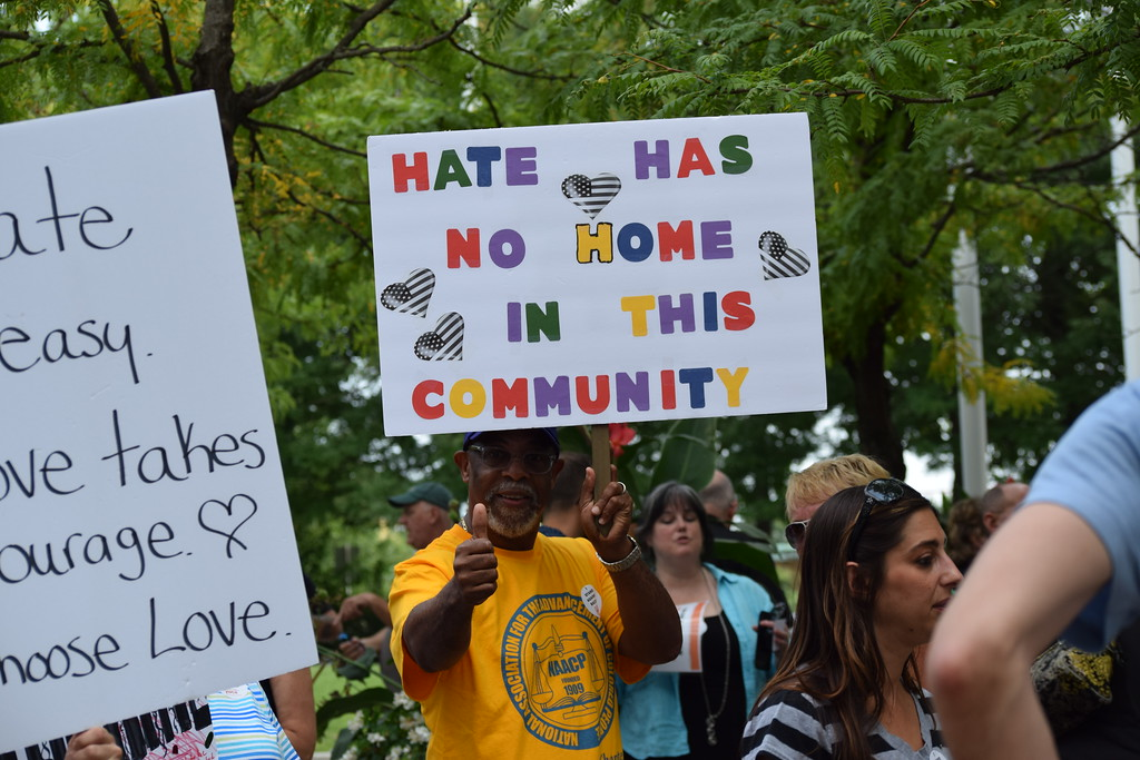 . Community members gathered in Smith Family Plaza Thursday to make their voices heard about hate in their communities. Following the events in Charlottesville over the weekend, residents gathered to show solidarity with the city.  Marian Dennis -- Digital First Media