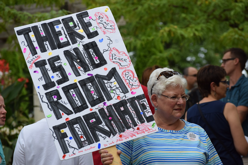 . Residents showed up in crowds Thursday evening with signs in support of Charlottesville. The vigil was meant to show that the Pottstown community will not stand for racism or bigotry. Marian Dennis -- Digital First Media