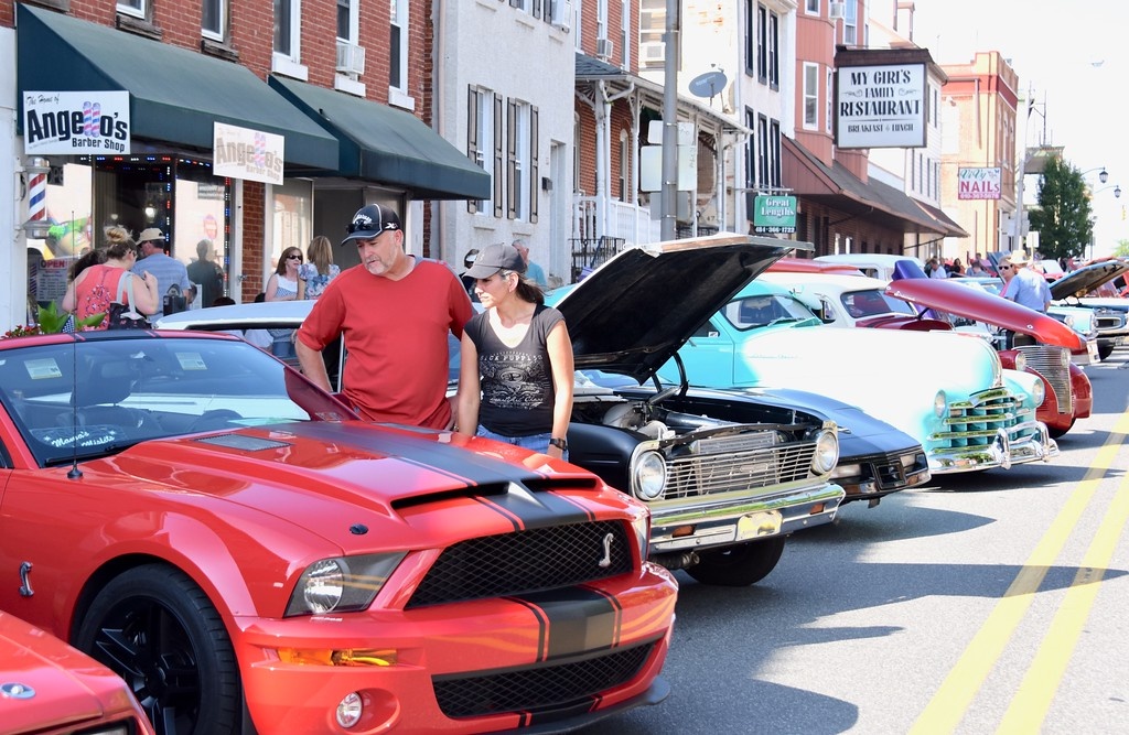 . Jesi Yost - Digital First Media  Cars lined up for the 2018 Boyertown Cruise Night on July 28.