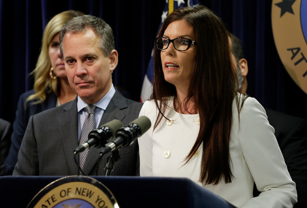 . Pennsylvania state attorney general Kathleen Kane, right, speaks about a multi state task force formed to address the Northeast heroin crisis during a news conference accompanied by New York state attorney general Eric Schneiderman, left, Wednesday, Oct. 8, 2014, in New York. Authorities in four Northeast states have agreed to collaborate in investigations of heroin trafficking that often cross state lines. The coalition so far includes New York, Pennsylvania, New Jersey and Massachusetts, with other states expected to join. (AP Photo/Julie Jacobson)