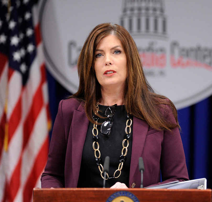""". Pennsylvania Attorney General Kathlen Kane conductS a news conference at the Capitol announcing charges against a former state Senate leader and seven others in what they called a \""""pay to play\"""" case involving the Pennsylvania Turnpike Thursday, March 13, 2013 in Harrisburg, Pa. (AP Photo/Bradley C  Bower)"""