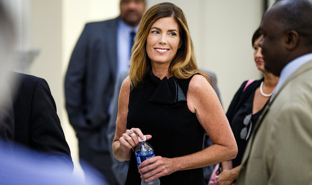 . Pennsylvania Attorney General Kathleen Kane takes a morning break during the fifth day of her trial at the Montgomery County Courthouse in Norristown, Pa., Friday, Aug. 12, 2016. Kane faces perjury and other charges related to the alleged leak of secret grand jury materials. (Dan Gleiter /PennLive.com via AP,Pool) Dan Gleiter, PennLive.com