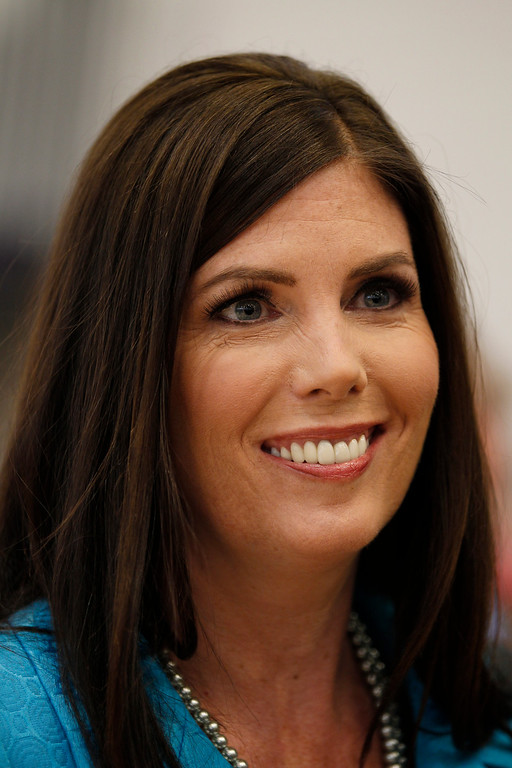 . Kathleen Kane, a democrat running for Pennsylvania Attorney General, speaks during a media availability before an event with President Bill Clinton at Upper Moreland High School Thursday, April 12, 2012 in Willow Grove, Pa. (AP Photo/AlexBrandon