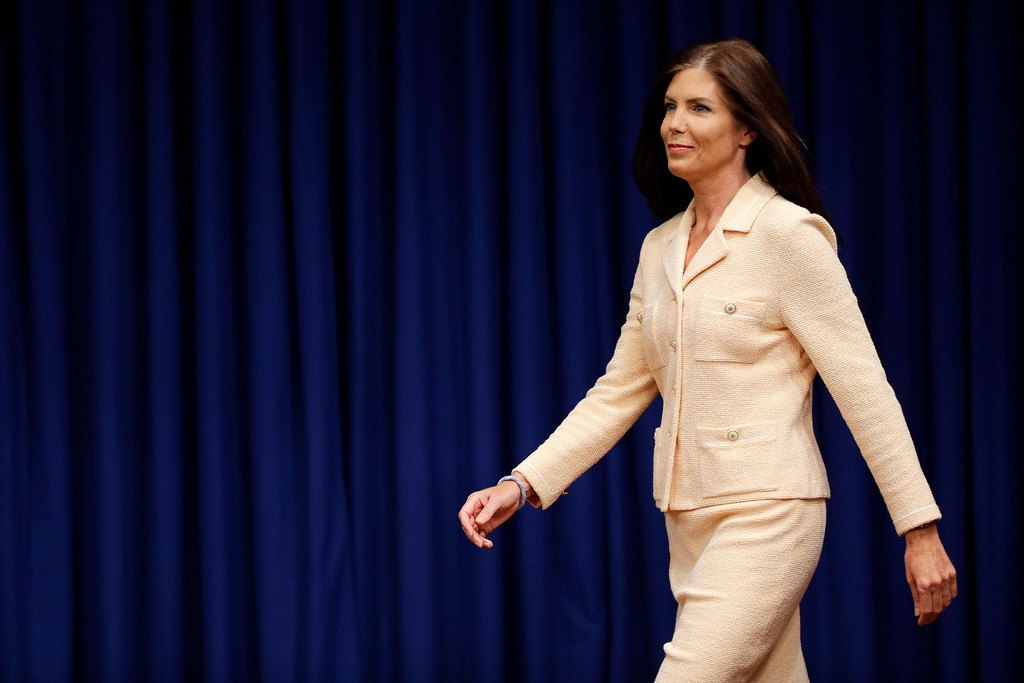 . Pennsylvania Attorney General Kathleen Kane arrives for a news conference, Wednesday, Aug. 12, 2015, at the state Capitol in Harrisburg, Pa. Kane said that criminal charges threatening to end her career were filed as part of an effort by state prosecutors and judges to conceal pornographic and racially insensitive emails they circulated with one another. Kane was charged last week with leaking grand jury information to a newspaper reporter as payback to a former state prosecutor and then lying about it under oath. (AP Photo/Matt Rourke)