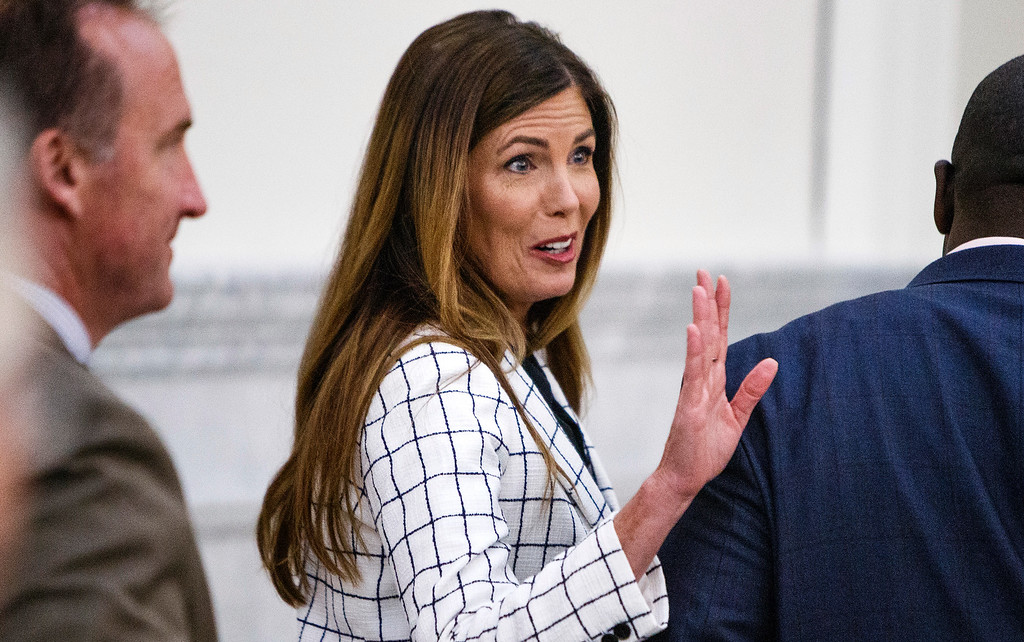. Pennsylvania Attorney General Kathleen Kane leaves the courtroom for a short recess on the second day of her trial at the Montgomery County Courthouse in Norristown, Pa., Tuesday, Aug. 9, 2016. Kane faces perjury and other charges related to the alleged leak of secret grand jury materials. (Dan Gleiter/PennLive.com via AP, Pool)