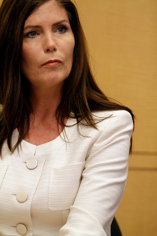 . Democratic candidate for Attorney General, Kathleen Kane speaks during an interview with the Associated Press, Thursday, July 26, 2012, in Philadelphia. Kane faces Republican David Freed in the election for state attorney general. (AP Photo/Brynn Anderson)