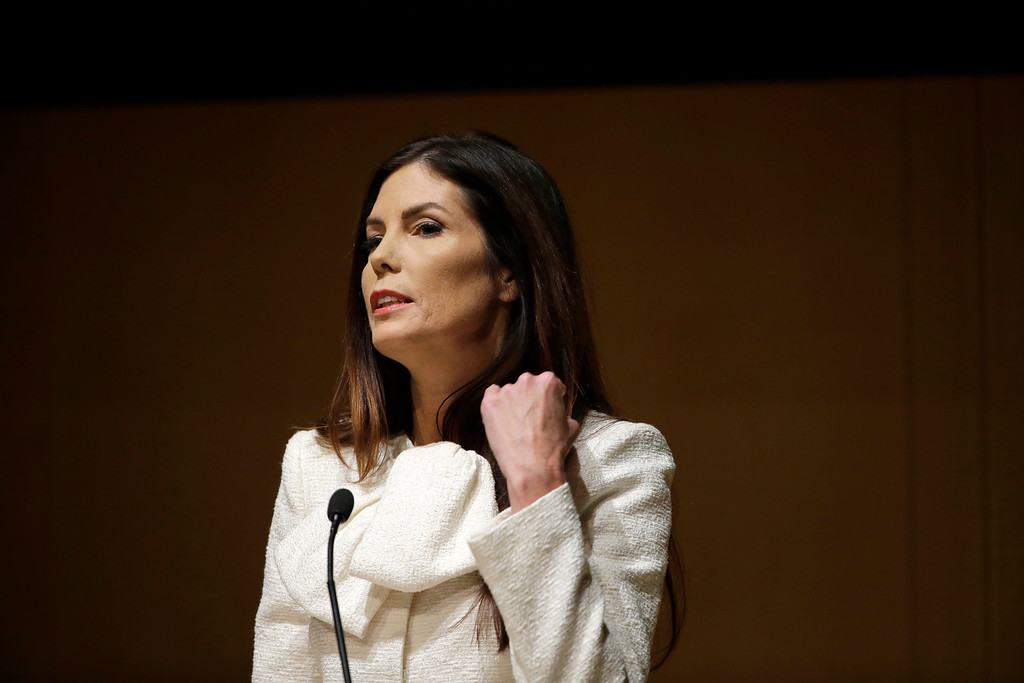 . Pennsylvania Attorney General Kathleen Kane speak during a news conference Tuesday, Dec. 1, 2015, at the National Constitution Center in Philadelphia. Kane announced a new effort to investigate pornography and other lewd emails exchanged among prosecutors, judges and others inside government. Kane\'s law license is currently suspended while she awaits trial on charges she leaked secret grand jury material to a newspaper and lied about it. (AP Photo/Matt Rourke)