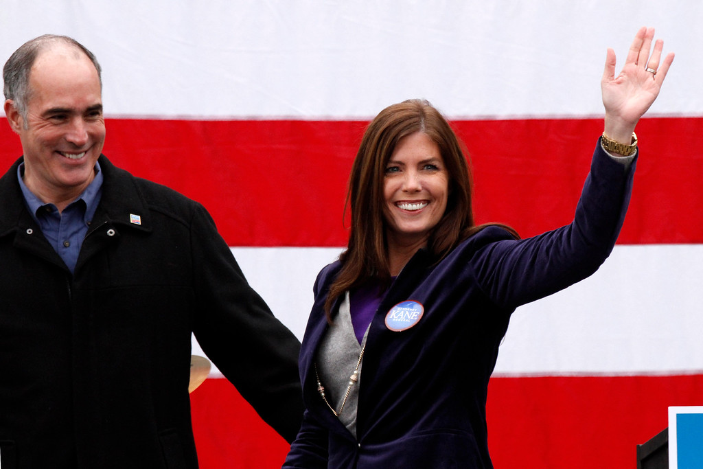 . Sen. Bob Casey, D-Pa., left, introduces Pennsylvania Democratic Attorney General candidate Kathleen Kane during a rally to get out the vote for President Barack Obama in downtown Pittsburgh, Monday, Nov. 5, 2012. (AP Photo/Gene J. Puskar)