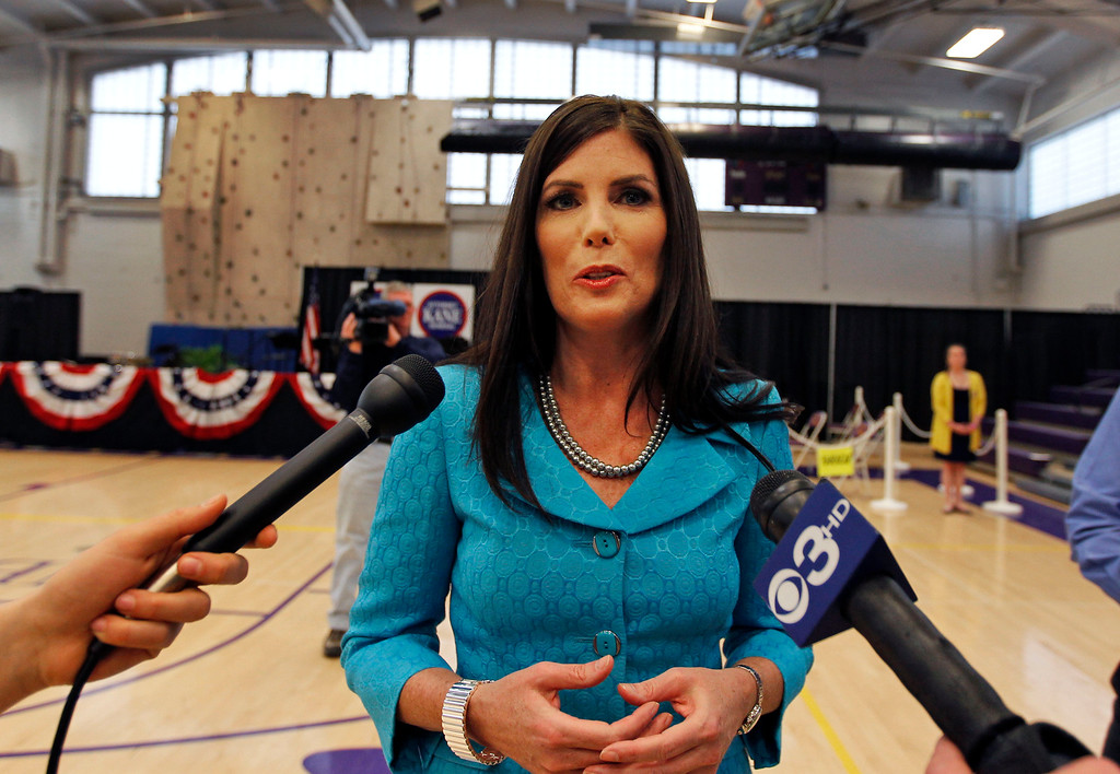 . Kathleen Kane, a democrat running for Pennsylvania Attorney General, speaks during a media availability before an event with President Bill Clinton at Upper Moreland High School Thursday, April 12, 2012 in Willow Grove, Pa. (AP Photo/Alex Brandon)