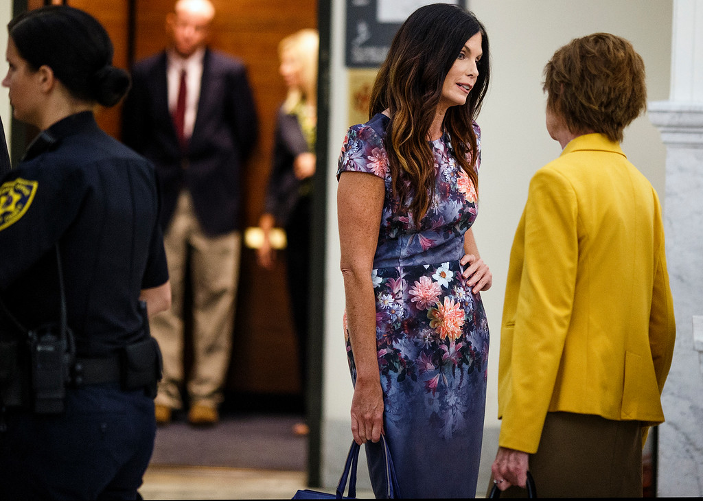 . Pennsylvania Attorney General Kathleen Kane\'s twin sister, Ellen Granahan Goffer, takes a morning break during the fifth day of her sister\'s trial at the Montgomery County Courthouse in Norristown, Pa., Friday, Aug. 12, 2016. Kane faces perjury and other charges related to the alleged leak of secret grand jury materials. (Dan Gleiter /PennLive.com via AP, Pool) Dan Gleiter, PennLive.com