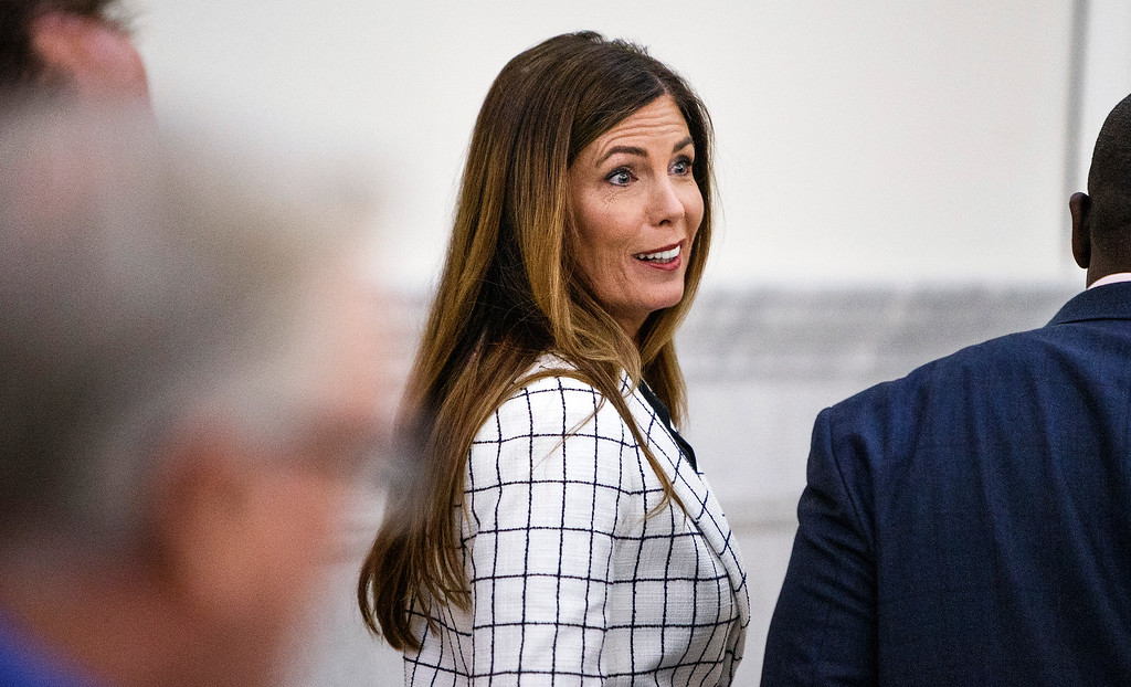 . Pennsylvania Attorney General Kathleen Kane leaves the courtroom for a short recess on the second day of her trial at the Montgomery County Courthouse in Norristown, Pa., Tuesday, August 9, 2016. Kane faces perjury and other charges related to the alleged leak of secret grand jury materials. (Dan Gleiter/PennLive.com via AP, Pool)