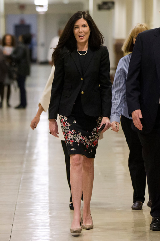 . Pennsylvania Attorney General Kathleen Kane walks to the State Supreme Court room, Wednesday, March 11, 2015, at City Hall in Philadelphia. The court is set to hear arguments on the legality of the special grand jury probe of Kane, which recommended charges against her. (AP Photo/Matt Rourke)