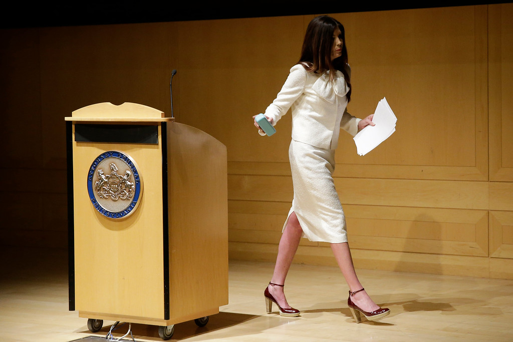 . Pennsylvania Attorney General Kathleen Kane walks from a podium after speaking at a news conference Tuesday, Dec. 1, 2015, at the National Constitution Center in Philadelphia. Kane announced a new effort to investigate pornography and other lewd emails exchanged among prosecutors, judges and others inside government. (AP Photo/Matt Rourke)
