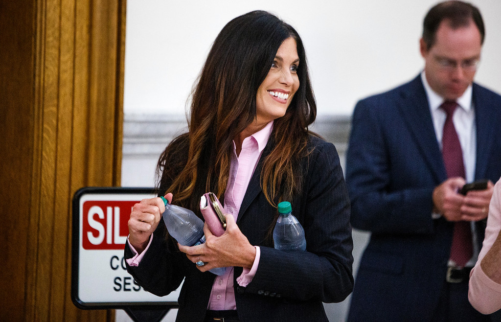 . Ellen Granahan Goffer, Pennsylvania Attorney General Kathleen Kane\'s twin sister, walks into the courtroom after a short recess on the second day of Kane\'s trial at the Montgomery County Courthouse in Norristown, Pa., Tuesday, Aug. 9, 2016. Kane faces perjury and other charges related to the alleged leak of secret grand jury materials. (Dan Gleiter/PennLive.com via AP, Pool)