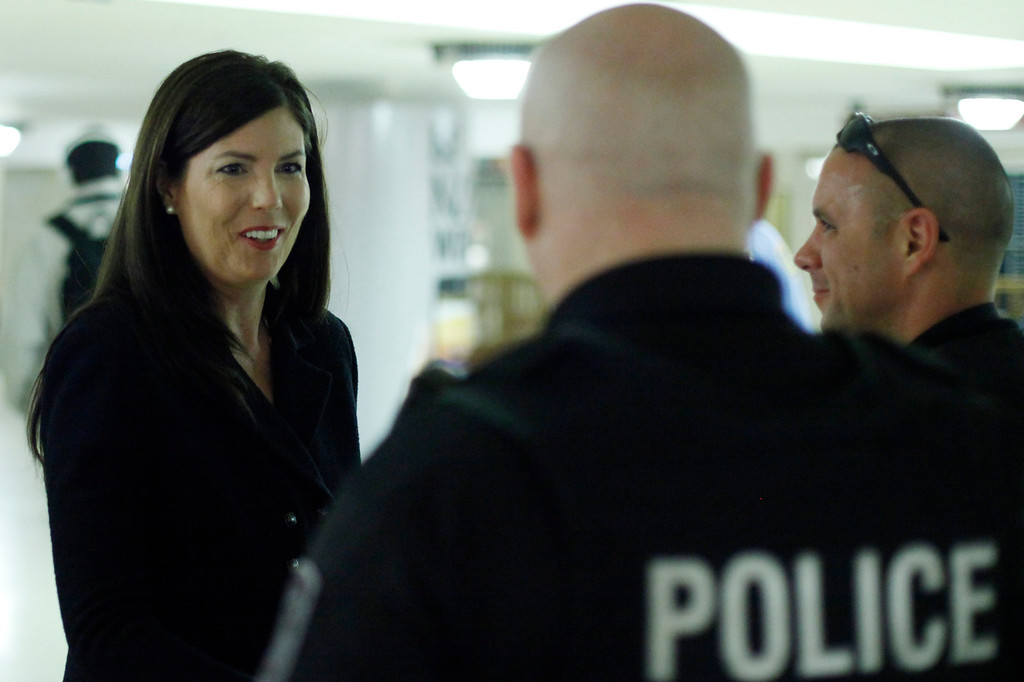 . Former Lackawanna County prosecutor Kathleen Kane, left, campaigns for the the Democrat nomination to run for the Pennsylvania Attorney General, at Suburban Station, Monday, April 23, 2012, in Philadelphia. (AP Photo/Matt Rourke)