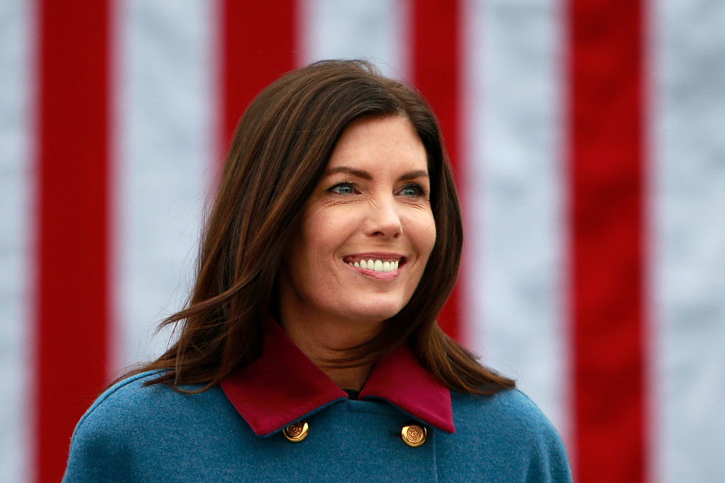 . Pennsylvania Attorney General Kathleen Kane walks to hear Tom Wolf take the oath of office to become the 47th governor of Pennsylvania, Tuesday, Jan. 20, 2015, at the state Capitol in Harrisburg, Pa. (AP Photo/Matt Rourke)