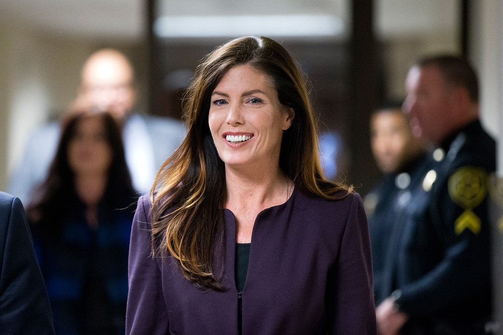 . Pennsylvania Attorney General Kathleen Kane departs after her preliminary hearing Tuesday, Nov. 10, 2015, at the Montgomery County courthouse in Norristown, Pa. Kane is accused of leaking secret grand jury information to the press, lying under oath and ordering aides to illegally snoop through computer files to keep tabs on an investigation into the leak. Charges of felony perjury and misdemeanor false swearing and obstruction were upheld at a preliminary hearing Tuesday in Montgomery County. (AP Photo/Matt Rourke)
