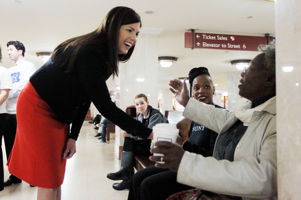 . Former Lackawanna County prosecutor Kathleen Kane campaigns for the the Democrat nomination to run for the Pennsylvania Attorney General, at Suburban Station, Monday, April 23, 2012, in Philadelphia. (AP Photo/Matt Rourke)