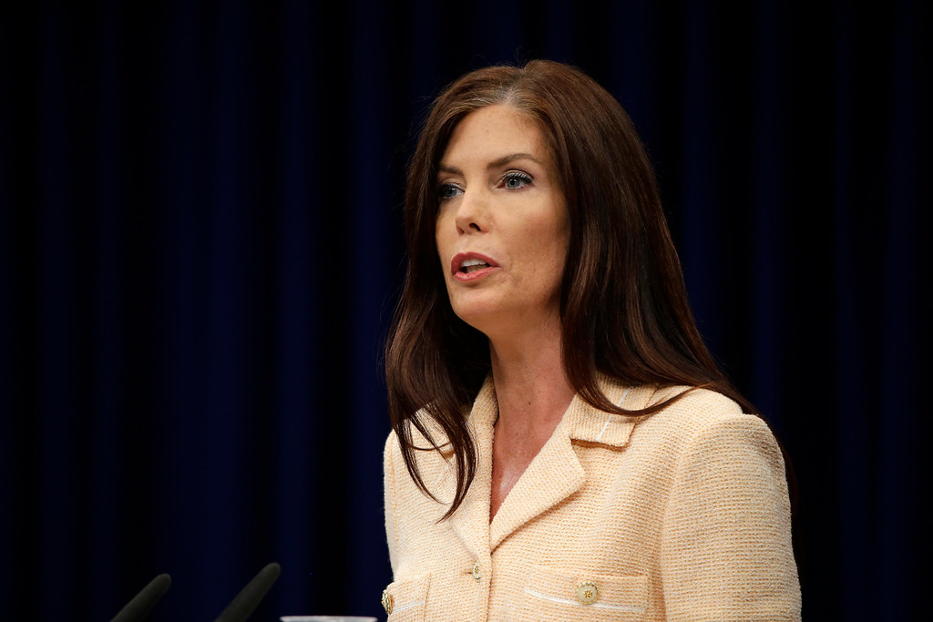 . Pennsylvania Attorney General Kathleen Kane speaks during a news conference Wednesday, Aug. 12, 2015, at the state Capitol in Harrisburg, Pa. Kane said Wednesday that criminal charges against her are part of an effort by state prosecutors and judges to conceal pornographic and racially insensitive emails they circulated with one another. Kane is charged with leaking grand jury information to a newspaper reporter as payback to a former state prosecutor and then lying about it under oath.(AP Photo/Matt Rourke)