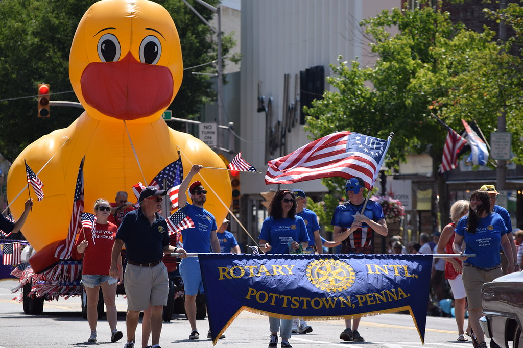 . The Pottstown Rotary Club makes their way down High Street Tuesday during the Fourth of July parade.--Marian Dennis, Digital First Media