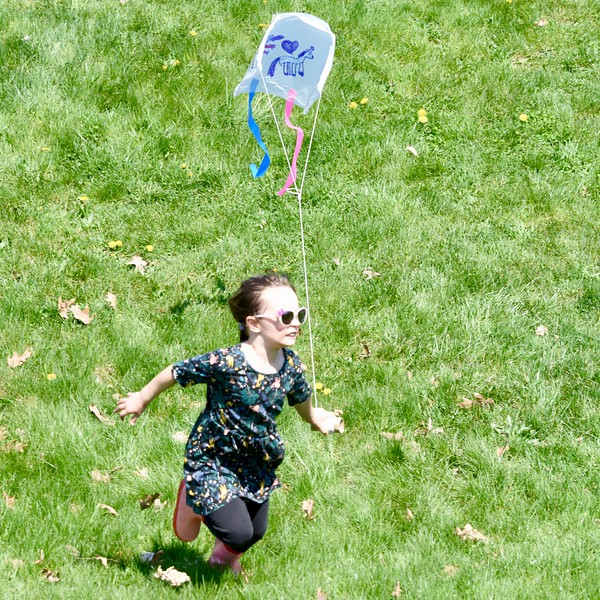 Jesi Yost - Digital First Media <br /> Celia Hauk, 6, of Mt. Penn with her with her dragon, unicorn, heart, sled kite she made at Go Fly a Kite and Healthy Kids Day in Bern Township on April 28.