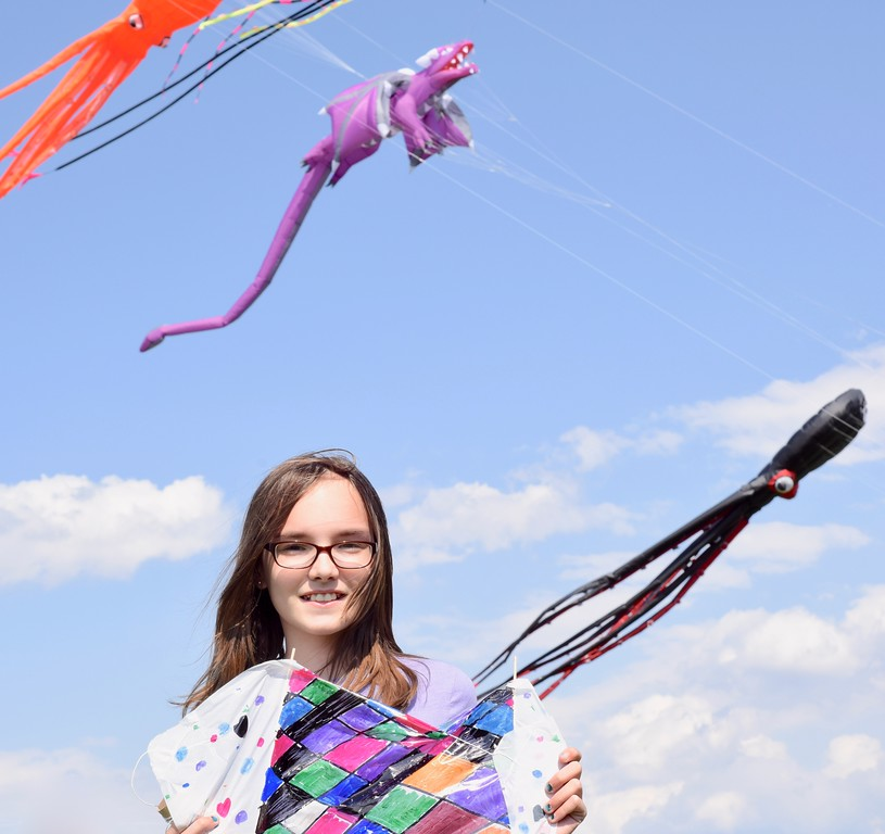 . Jesi Yost - Digital First Media  Berks County residents flew kites at the 31st annual Go Fly a Kite! Day on April 28 at the Youth Recreation Facility in Bern Township. Pictured, Lexie F., 10, of Blandon with her sled kite creation.