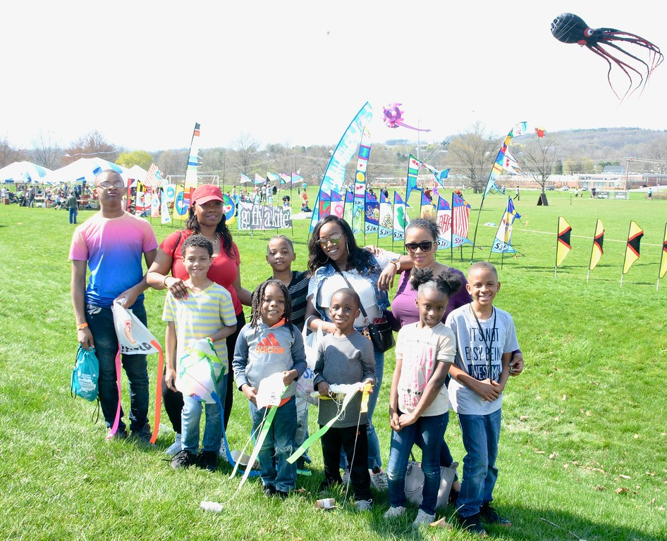. Jesi Yost - Digital First Media  Members of the Shirley, Barclay, and King families gather at Go Fly a Kite and Healthy Kids Day at Berks County Youth Recreation Facility in Bern Township on April 28.