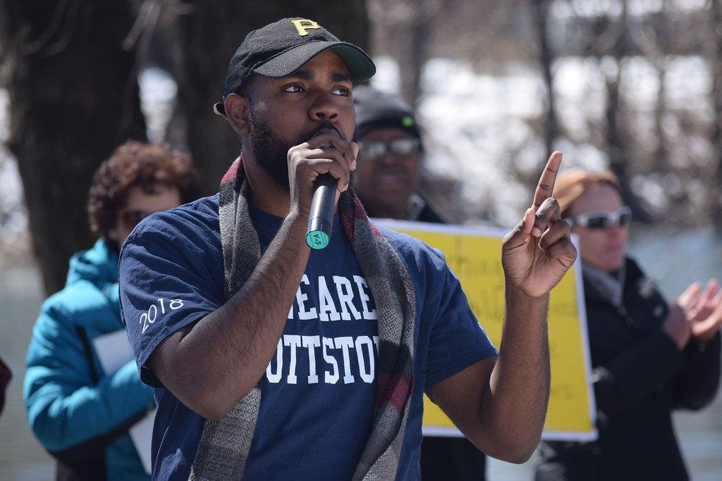 . Marian Dennis � DIgital First Media Emmanuel Wilkerson, 20, a member of the Pottstown School Board, was one of several speakers at the March for Our Lives rally held in Pottstown Saturday. Wilkerson spoke about the power of the community�s youth and relayed his own experience becoming the youngest ever elected official in Pennsylvania when he was 18.