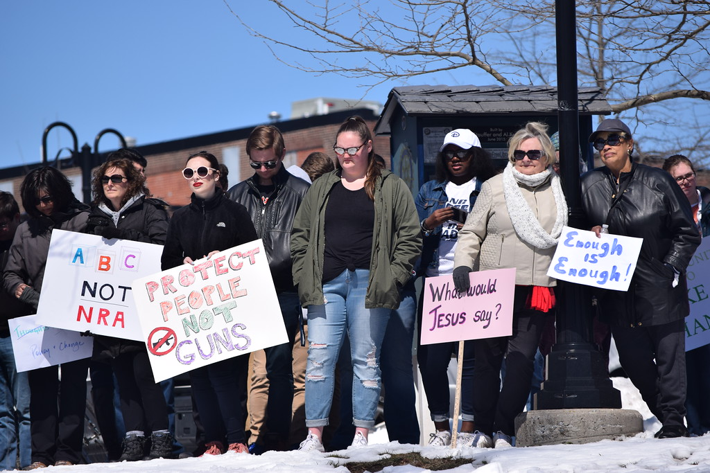 . Marian Dennis � DIgital First Media Attendees as Saturday�s March for Our Lives rally in Pottstown lined the top of the hill in Riverfront Park as speakers discussed the need for change.